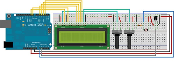 Arduino LCD Temperature Light Sensor
